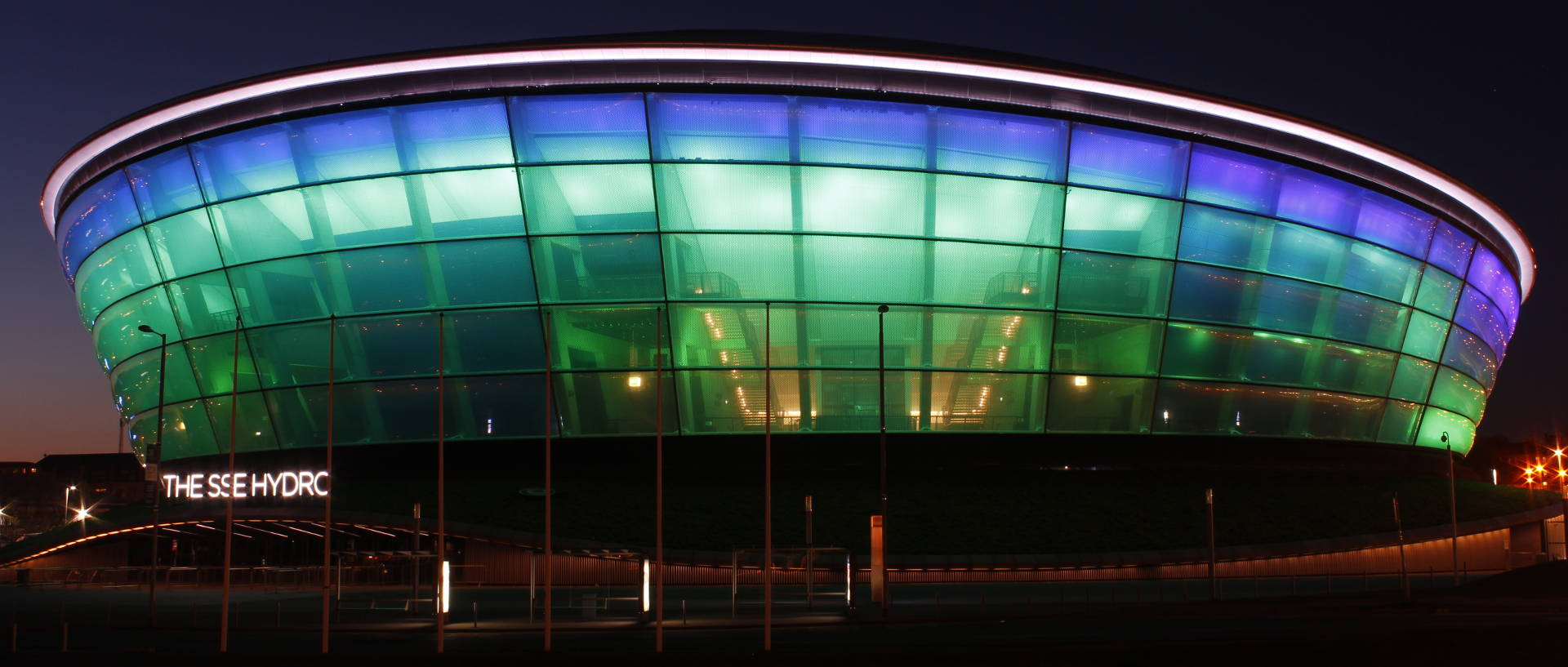 The SSE Hydro Arena at night nearby our serviced apartments in Glasgow