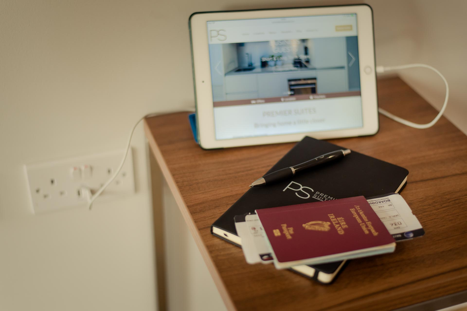 iPad and passport in PREMIER SUITES PLUS Glasgow Bath Street