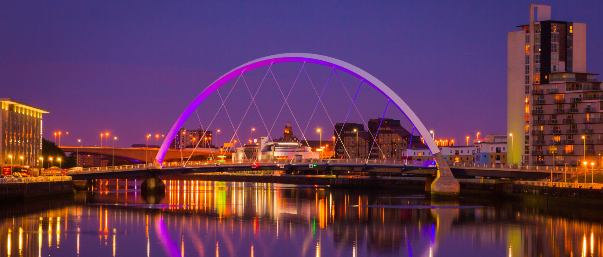Clyde Bridge Glasgow at night time